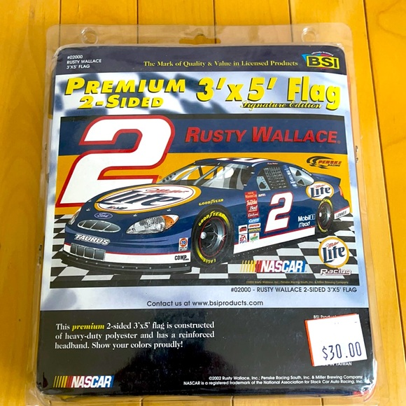 NASCAR Rusty Wallace #2 Premium 3'x5' Racing Flag